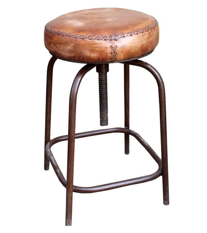 Industrial Furniture - Iron Stool with leather seat