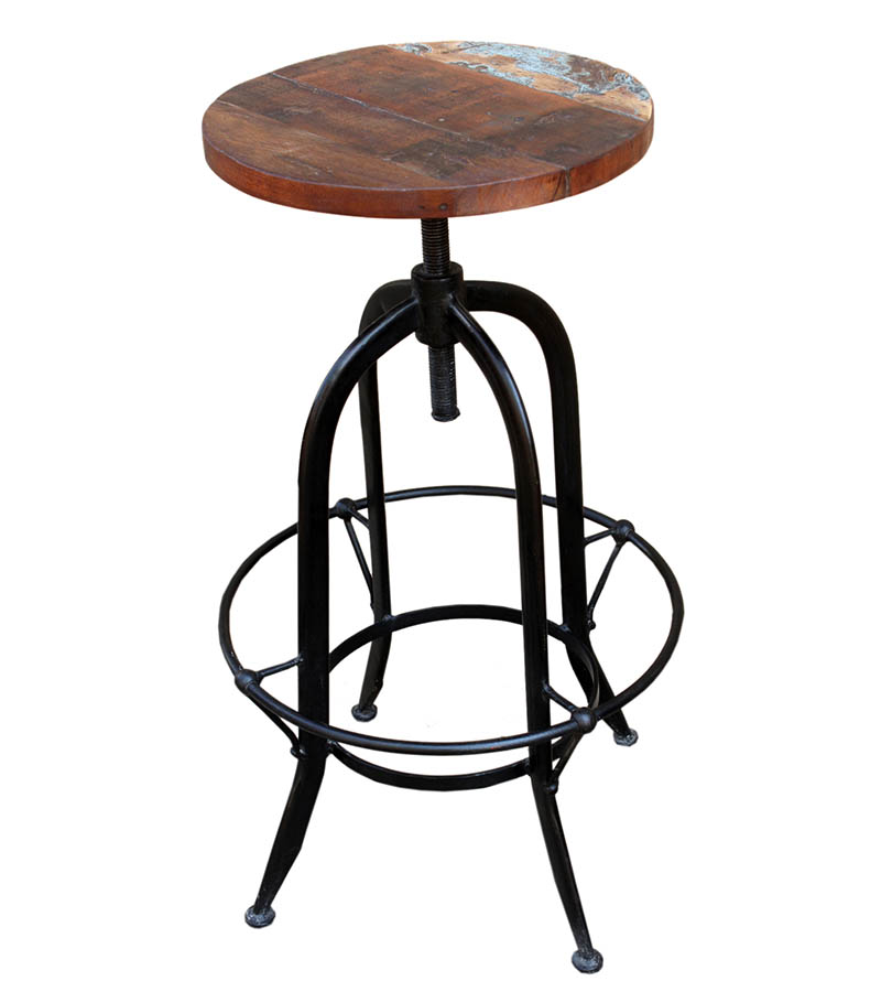 Industrial Furniture - Reclaimed wood Industrial Stool