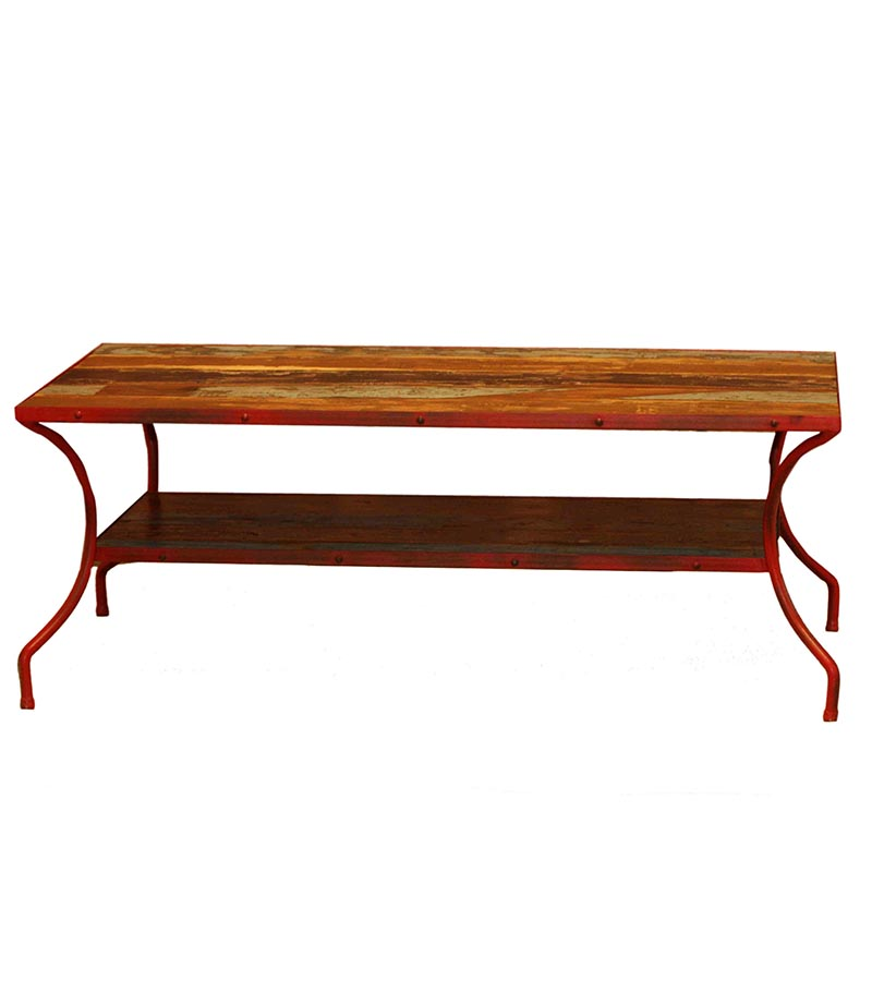 Industrial Furniture - Reclaimed Wood Industrial Coffee table with curved legs
