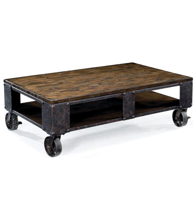 Industrial Furniture - Industrial Low height Coffee Table with wheels