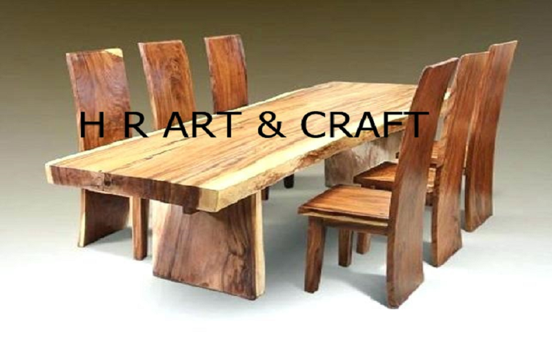 Wooden Furniture - Live Edge Dining Table & Chair