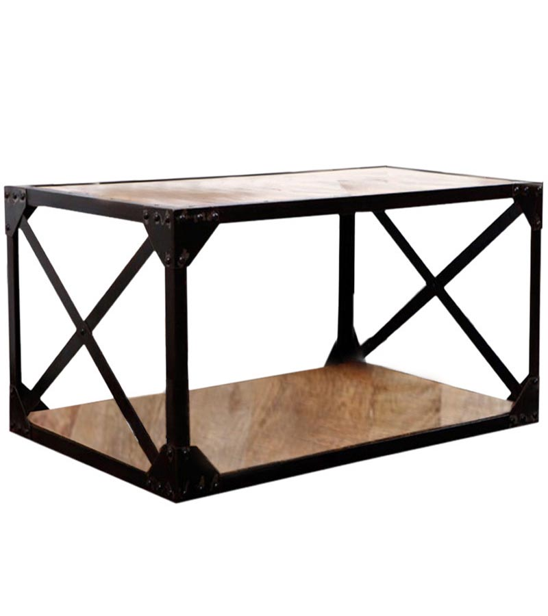 Industrial Furniture - Industrial Coffee Table Cross Iron Legs