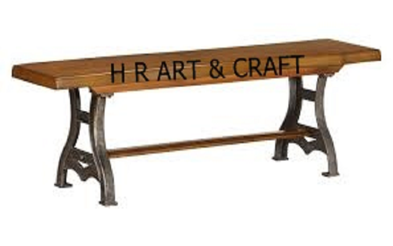 Wooden Furniture - Wooden Bench With Cast Iron Legs