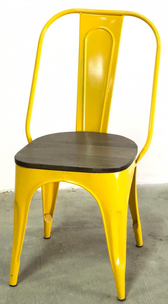 Industrial Furniture - Tolix Iron Chair with Wooden Top