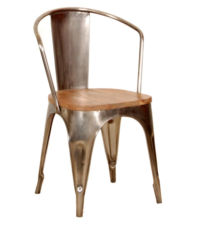 Iron Furniture - Metal   chair with wooden seat