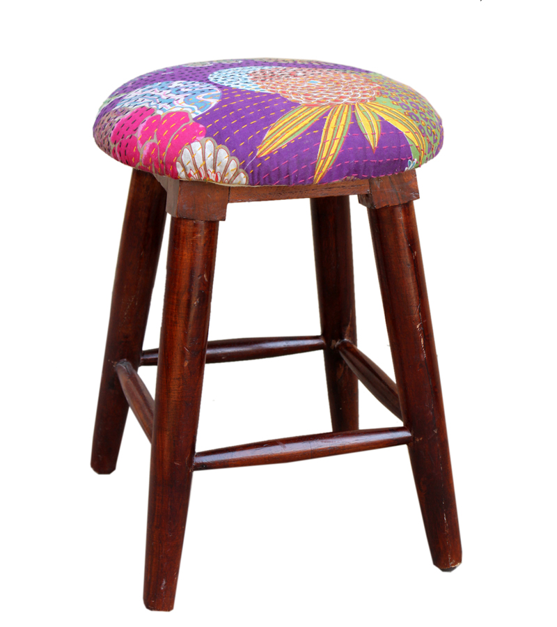 Exclusives - Sheesham stool with fabric sheet