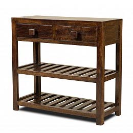 Wooden Furniture - Long Console with two Drawers with Walnut Finish