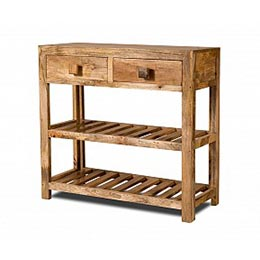 Wooden Furniture -  Long Console two Drawers in Mango Finish